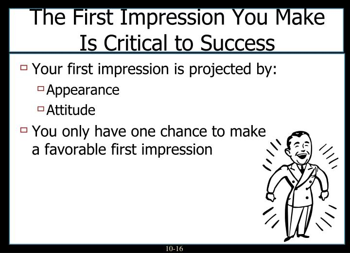 Your first impression is projected by: