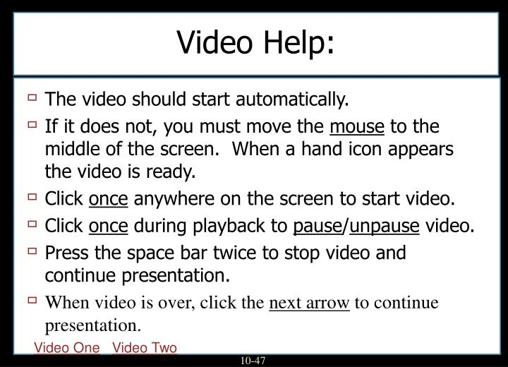 Video Help: