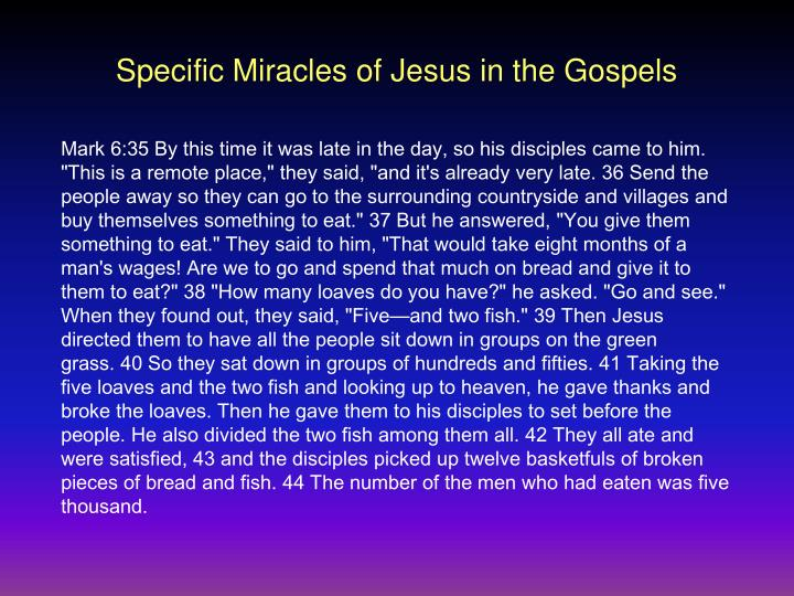 Specific Miracles of Jesus in the Gospels