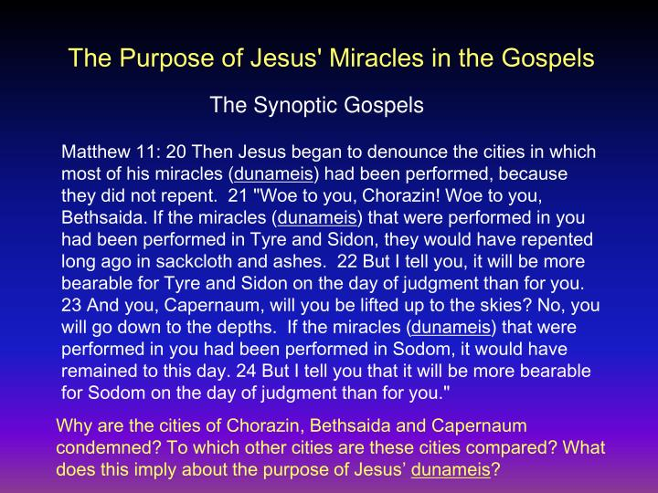 The Purpose of Jesus' Miracles in the Gospels