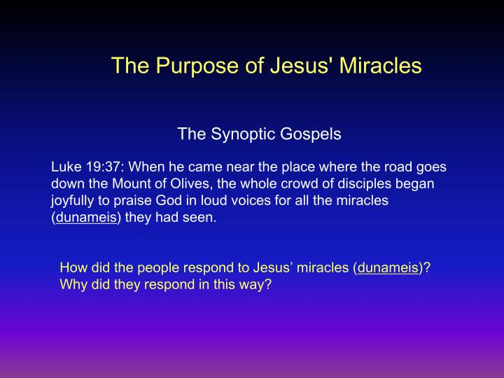 The Purpose of Jesus' Miracles
