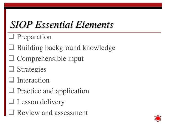 SIOP Essential Elements