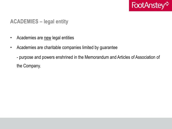 ACADEMIES – legal entity