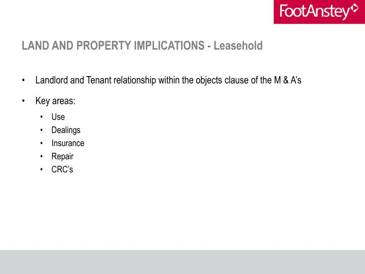 LAND AND PROPERTY IMPLICATIONS - Leasehold