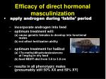 efficacy of direct hormonal masculinization
