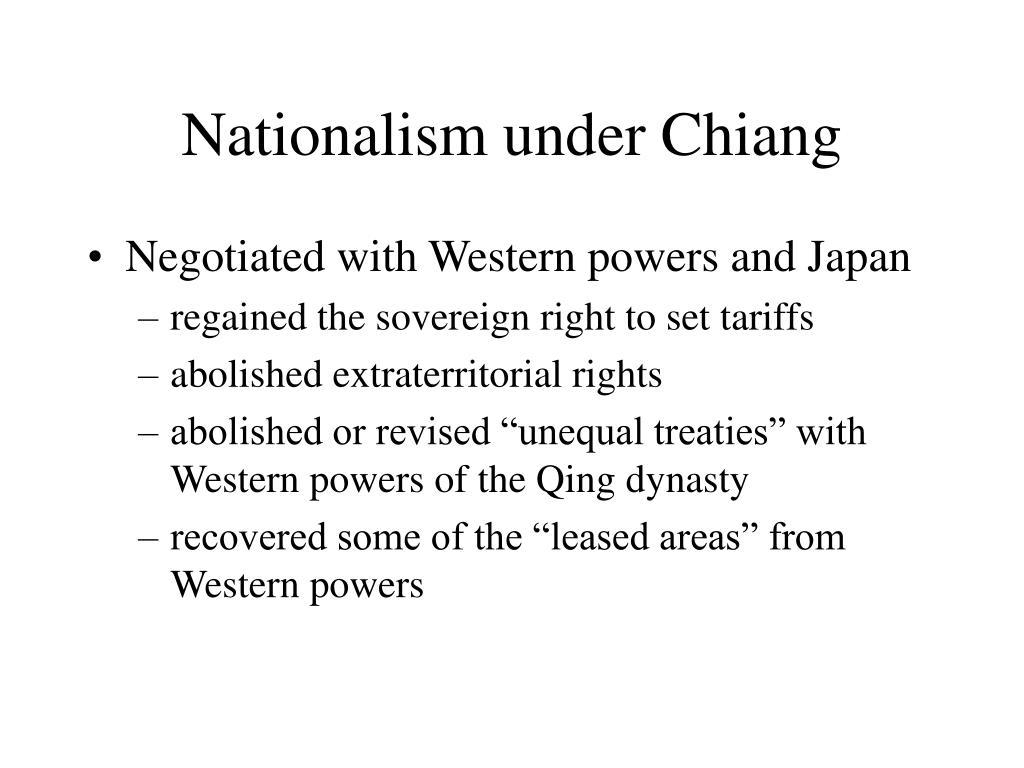 Nationalism under Chiang