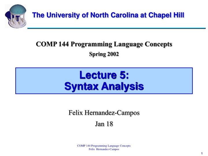 Lecture 5 syntax analysis