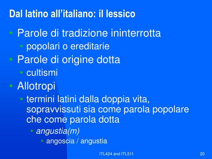 Dal latino all'italiano: il lessico