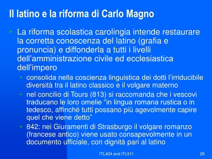 Il latino e la riforma di Carlo Magno