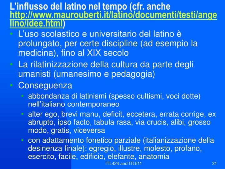 L'influsso del latino nel tempo (cfr. anche