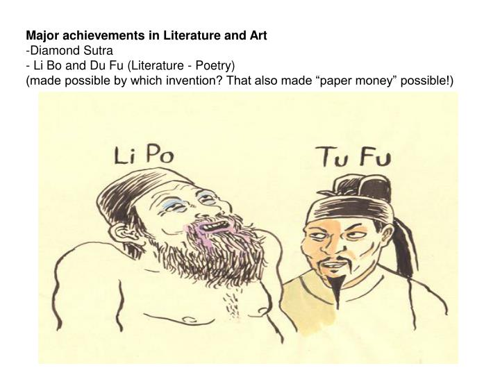 Major achievements in Literature and Art