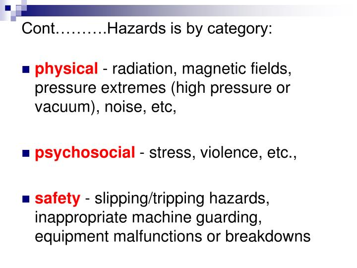Cont……….Hazards is by category: