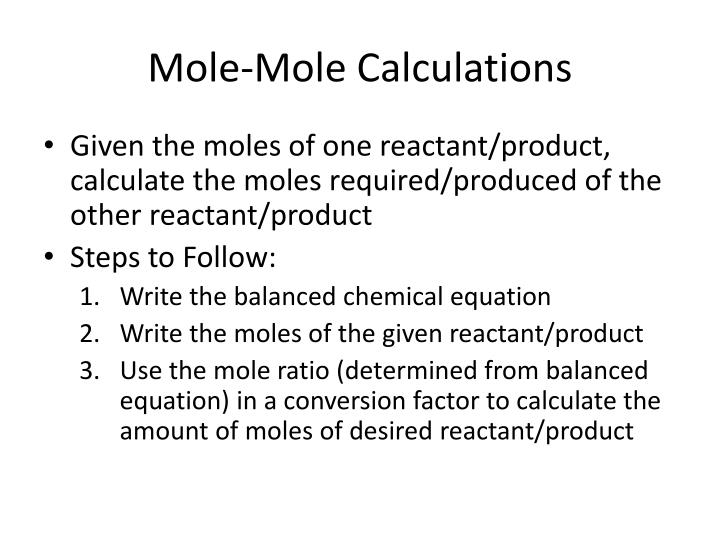 Mole-Mole Calculations