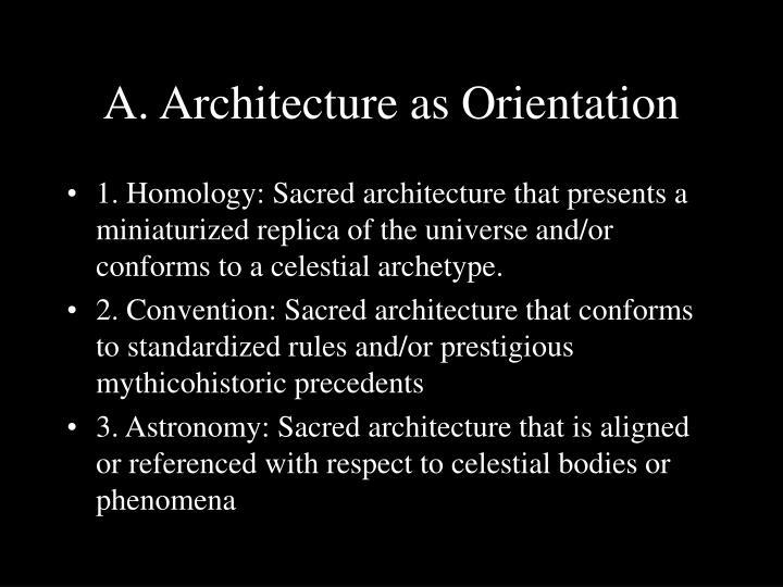 A. Architecture as Orientation