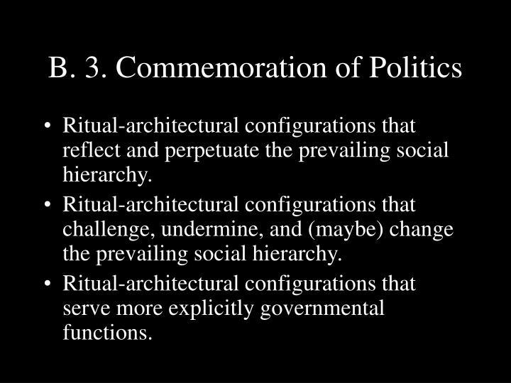 B. 3. Commemoration of Politics