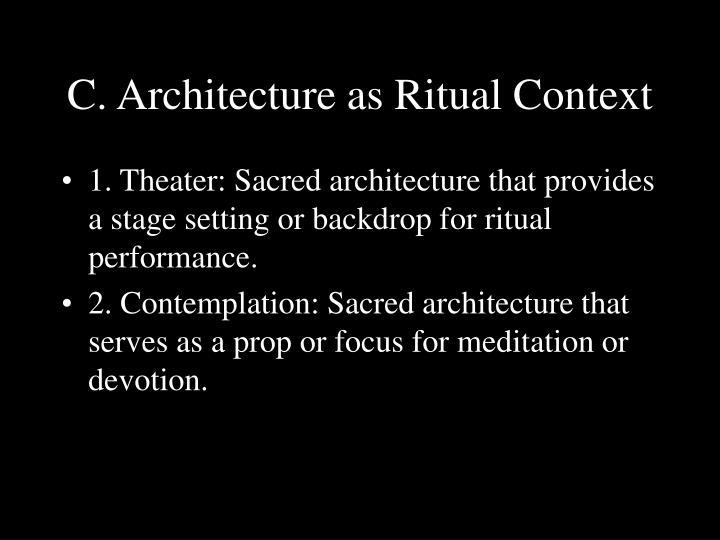 C. Architecture as Ritual Context