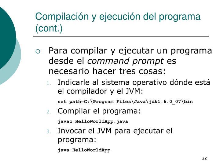 Compilación y ejecución del programa (cont.)