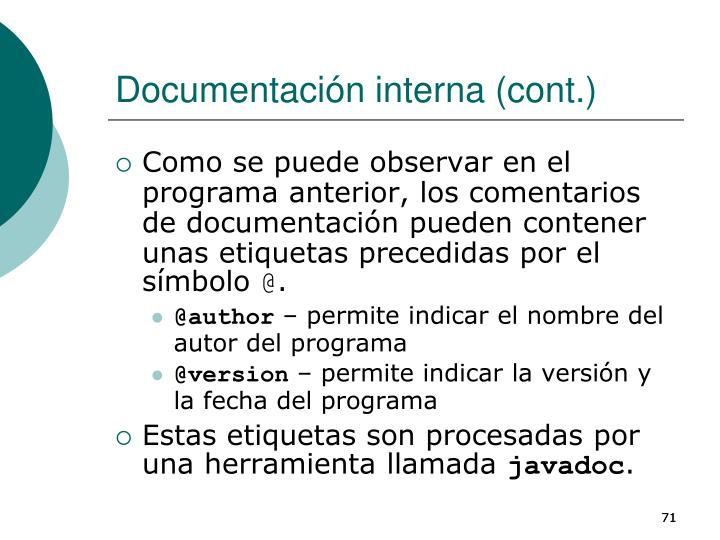 Documentación interna (cont.)