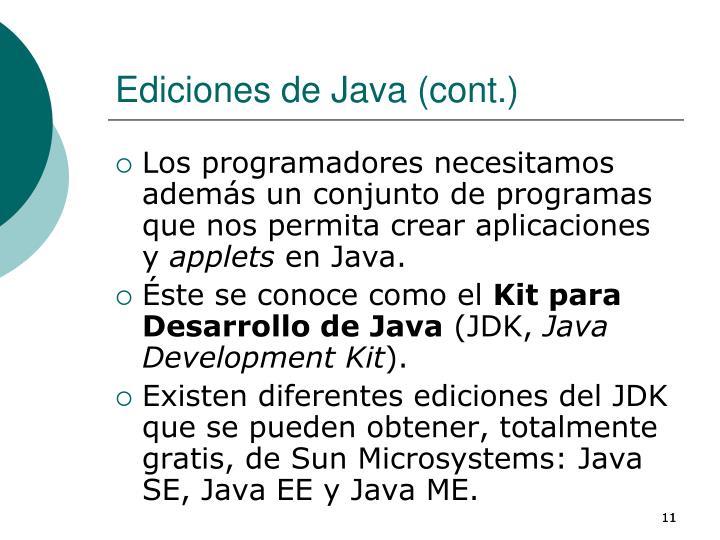 Ediciones de Java (cont.)