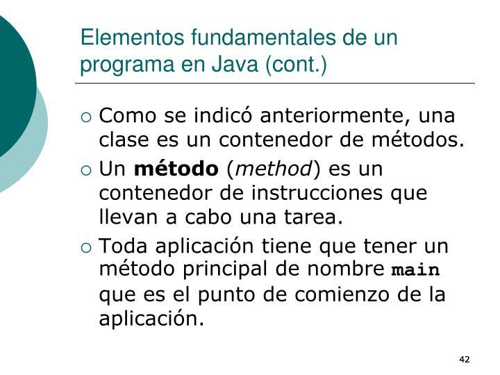 Elementos fundamentales de un programa en Java (cont.)