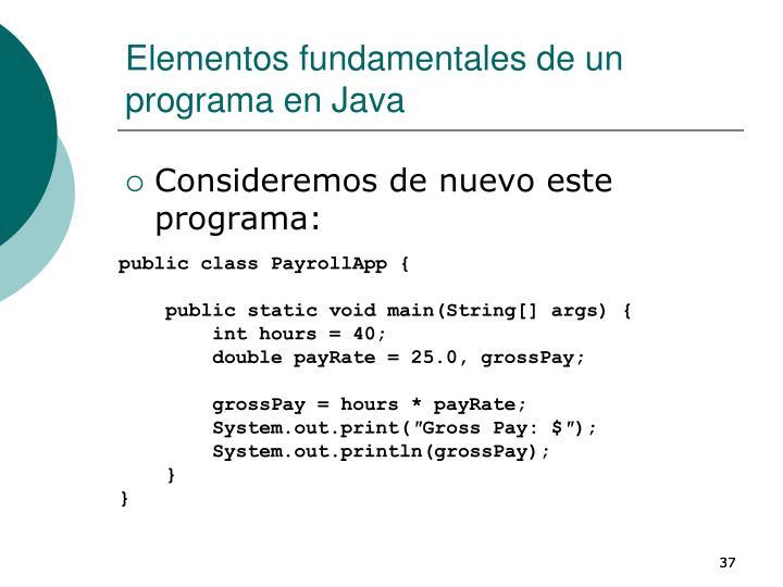 Elementos fundamentales de un programa en Java