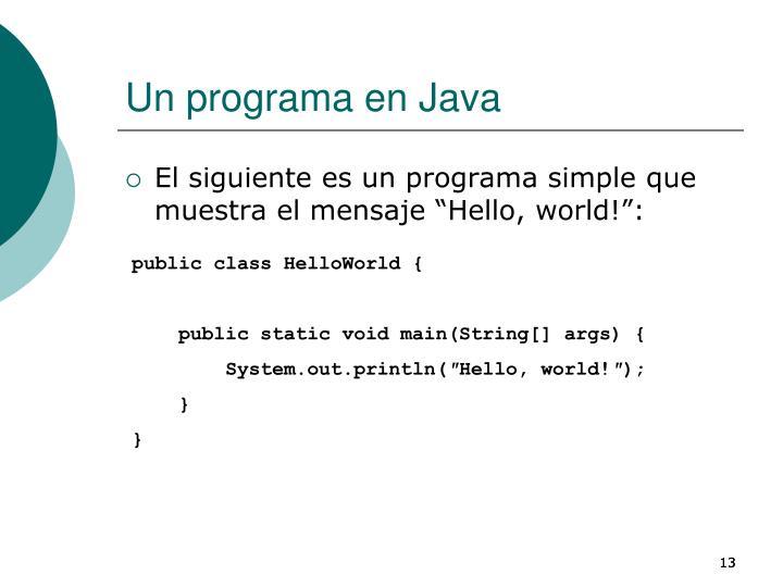 Un programa en Java
