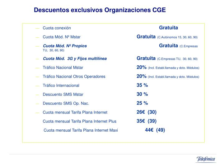 Descuentos exclusivos Organizaciones CGE