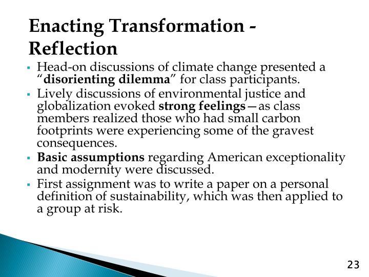 Enacting Transformation - Reflection