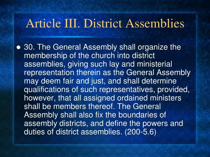 Article III. District Assemblies