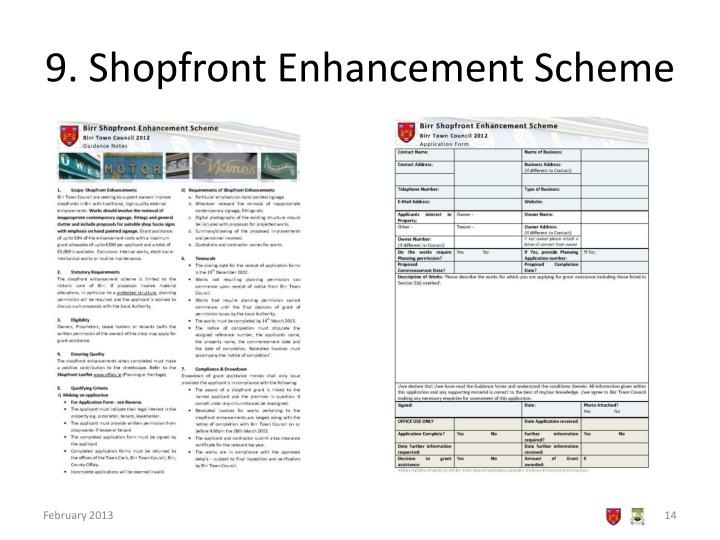 9. Shopfront Enhancement Scheme