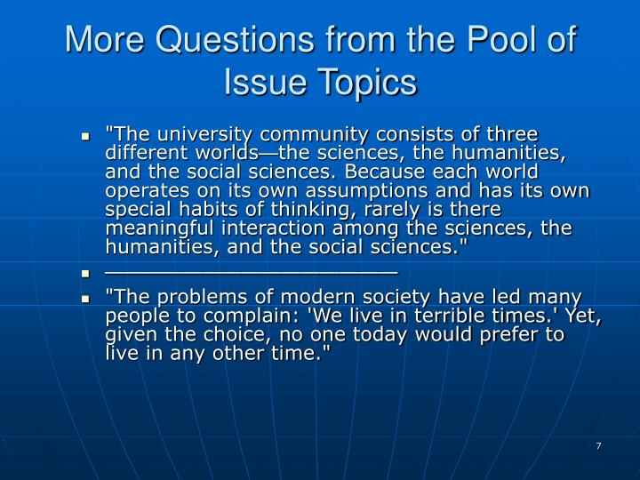 More Questions from the Pool of Issue Topics