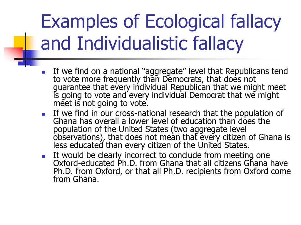 Examples of Ecological fallacy and Individualistic fallacy