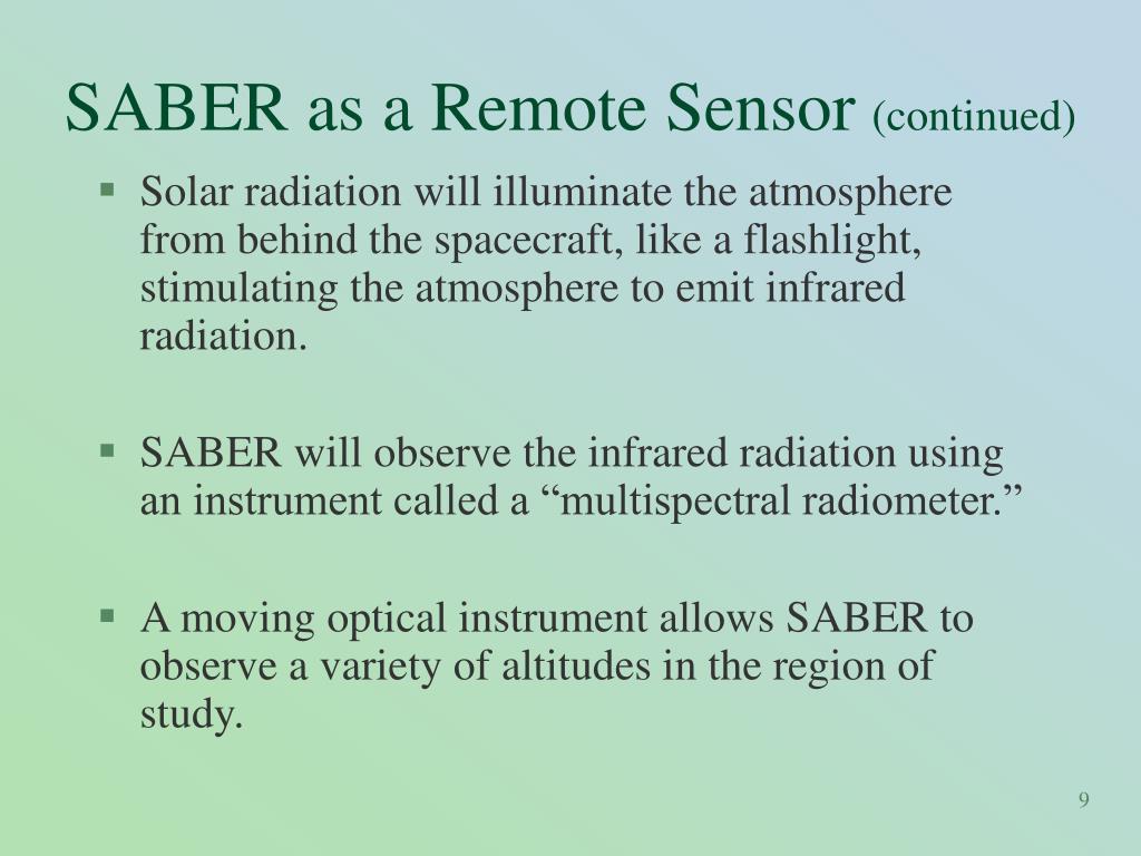 SABER as a Remote Sensor
