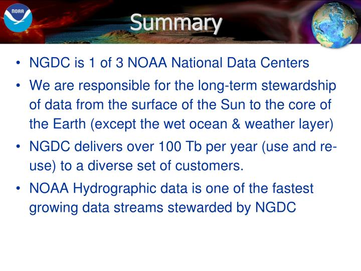 NGDC is 1 of 3 NOAA National Data Centers