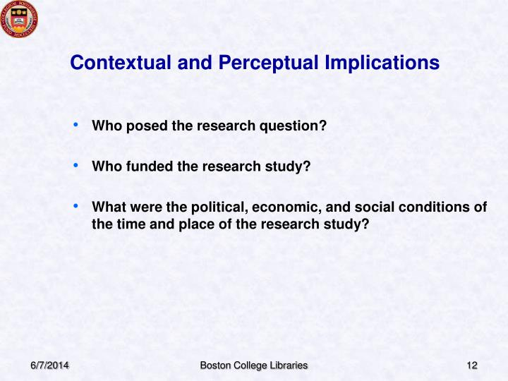 Contextual and Perceptual Implications