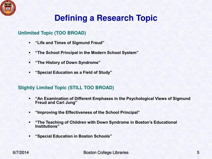 Defining a Research Topic