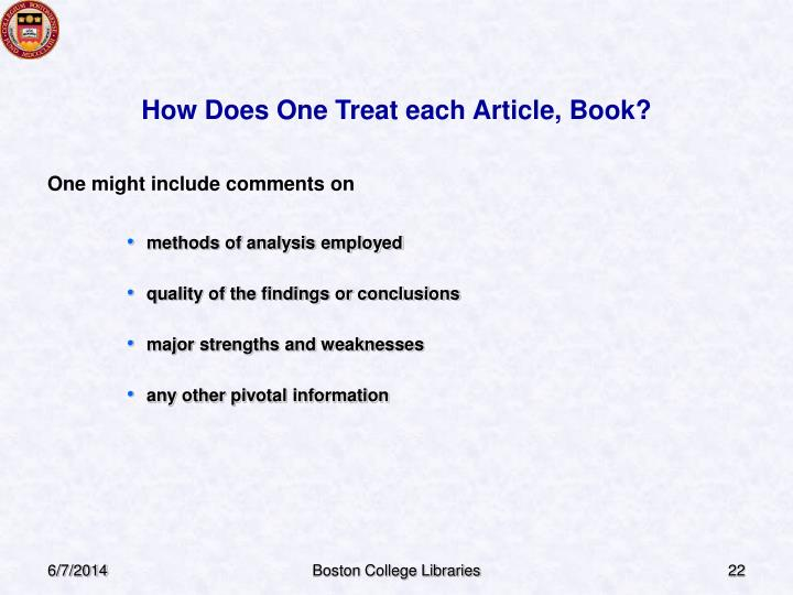 How Does One Treat each Article, Book?