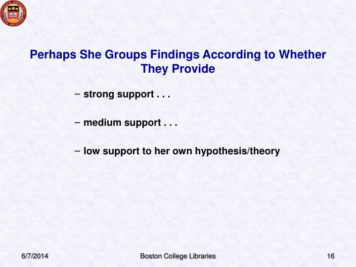 Perhaps She Groups Findings According to Whether They Provide