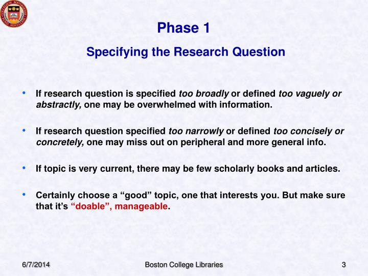 Phase 1 specifying the research question
