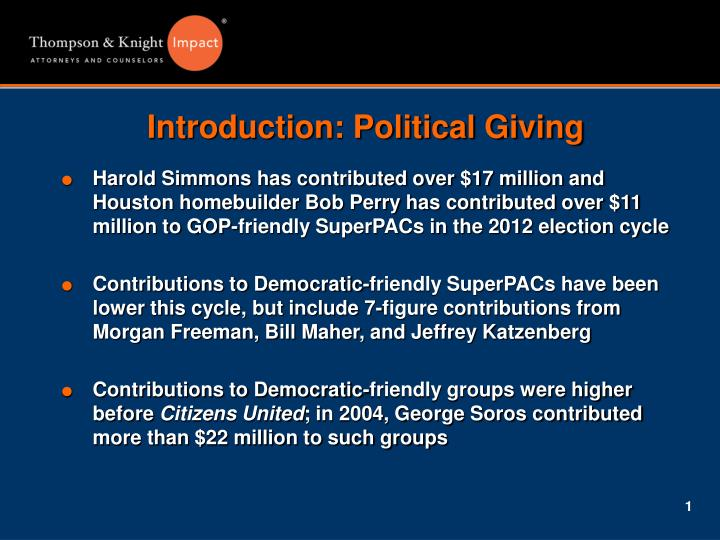 Introduction political giving