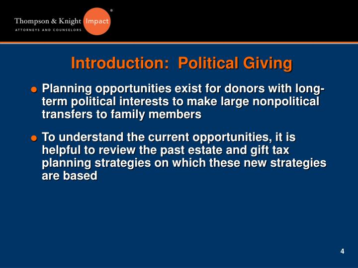 Introduction:  Political Giving