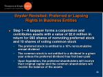 snyder revisited preferred or lapsing rights in business entities1