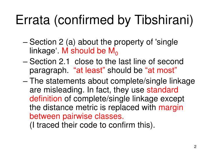 Errata (confirmed by Tibshirani)
