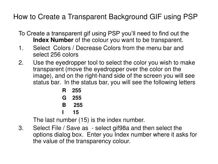 How to Create a Transparent Background GIF using PSP