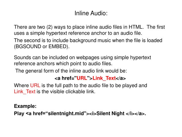 Inline Audio: