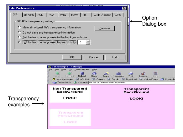 Option Dialog box