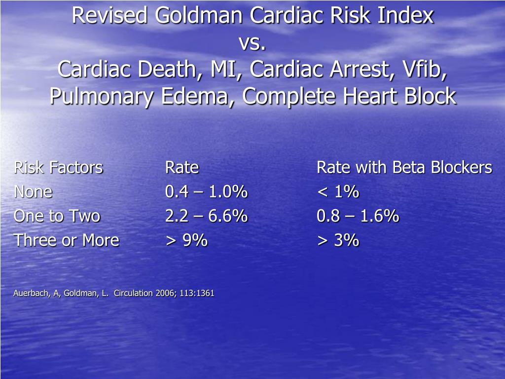 Revised Goldman Cardiac Risk Index