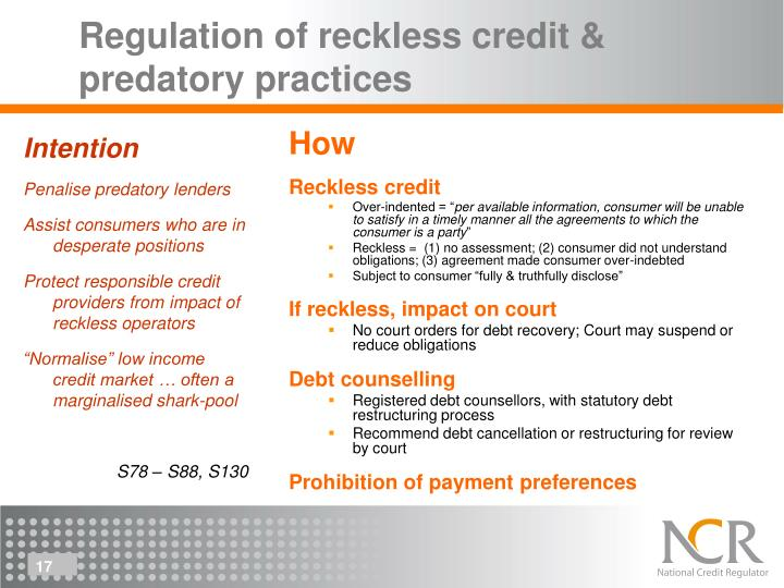 Regulation of reckless credit & predatory practices