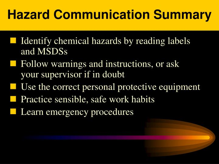 Hazard Communication Summary
