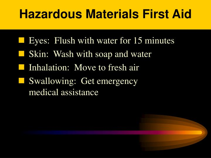 Hazardous Materials First Aid